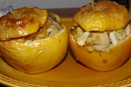 Recette de pommes farcies au poulet et aux champignons