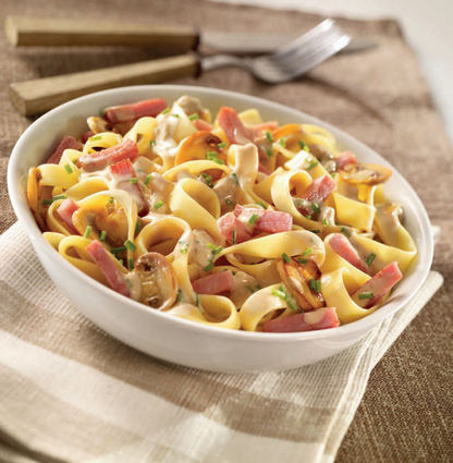 Recette de tagliatelles au bacon, champignons, sauce aux petits ...