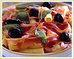 Recette rigatoni au jambon cru et olives noires
