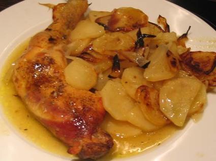 Poulet et pommes de terre boulangères