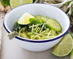 Recette nouilles froides au concombre et asperges