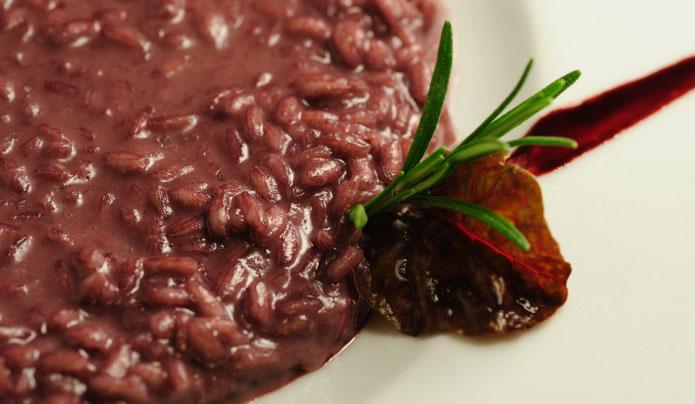 Risotto au vin rouge teroldego rotoliano doc