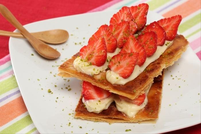 Recette de mille-feuille vanille fraise facile