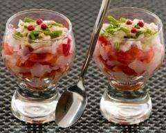 Recette tartare de tomates aux herbes et échalotes crues en verrine
