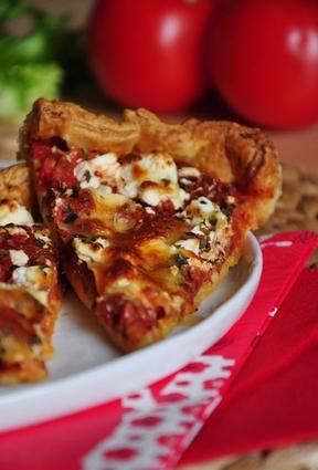 Recette de tarte aux tomates confites et à la fêta