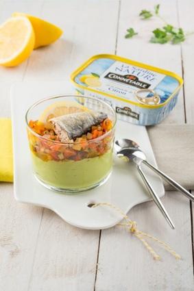 Verrines multicolores à la sardine nature et sa rondelle de citron ...