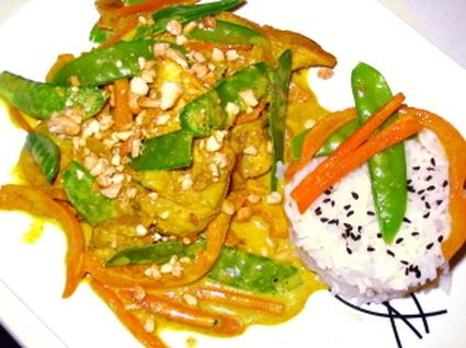 Recette de curry doux de poulet aux légumes croquants