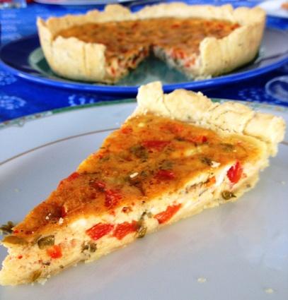 Recette de tarte au fromage de brebis et au poivron rouge
