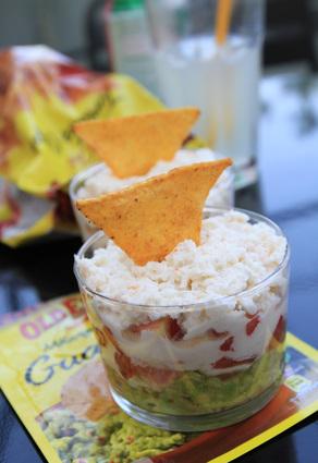 Recette de verrines de guacamole au crabe et tortilla chips