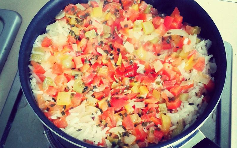 Recette risotto aux poivrons et tomates pas chère > cuisine étudiant