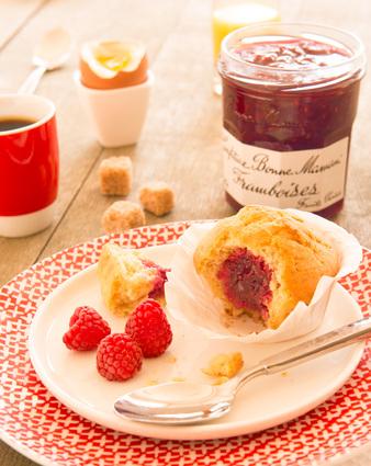 Recette de muffins cœur de confiture de framboises bonne maman ...