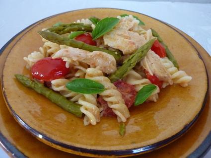 Recette de salade de pâtes aux asperges vertes et au poulet