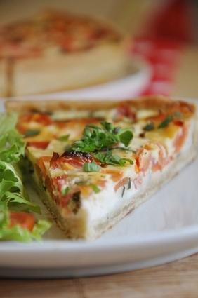 Recette de quiche aux tomates, fromage de chèvre et basilic