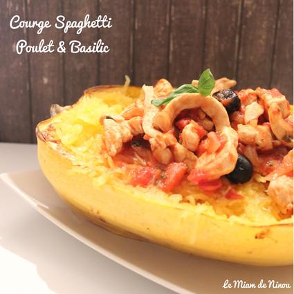 Recette de courge spaghetti poulet & basilic