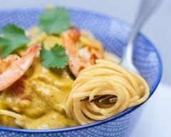Recette spaghetti aux crevettes et curry