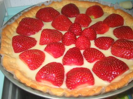 Recette de tarte au chocolat blanc et aux fraises