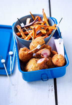 Recette de rognons de bœuf panés aux noisettes et frites de carotte ...