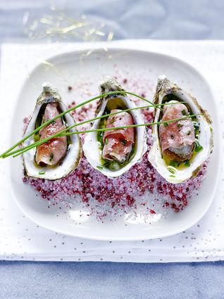 Recette de huîtres snackées au jambon de bayonne, sauce vierge ...