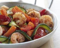 Recette crevettes sautées aux légumes croquants bio