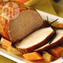 Recette rôti de porc glacé à l'orange, patates douces, carottes et ...
