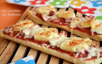 Recette de pizza  baguette à la hawaïenne