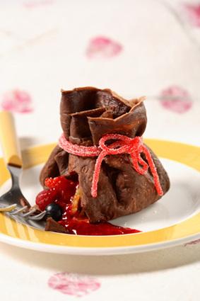 Recette aumônières de crêpes au chocolat, trésor de fruits