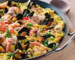 Recette paella sucrée-salée ananas, chorizo et fruits de mer