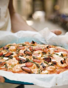 Pizza aux fruits de mer légère