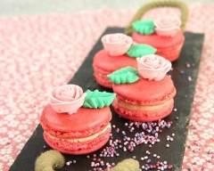 Recette macarons à la rose et au chocolat blanc, roses en sucre