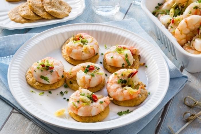 Recette de blinis de patates douces et crevettes à la thaïe