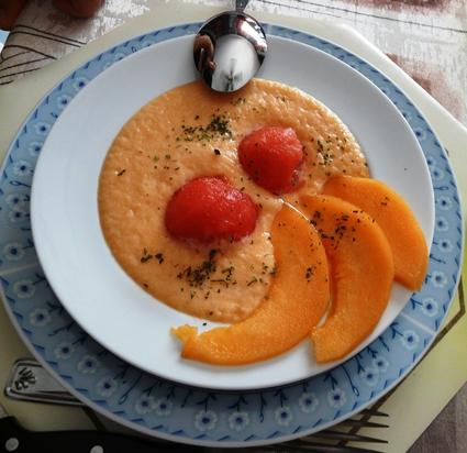 Recette de soupe froide melon-pastèque