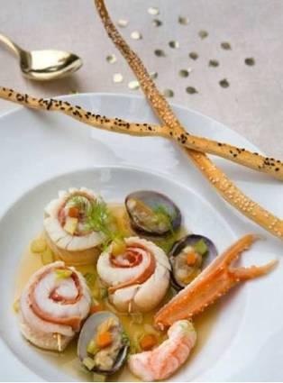 Recette de médaillons de merlan au bouillon de crustacés