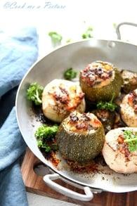 Recette de courgettes et navets farcis au saumon et cabillaud