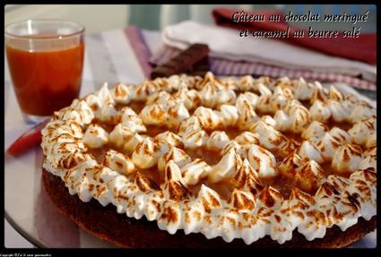 Recette de gâteau chocolat meringué caramel au beurre salé