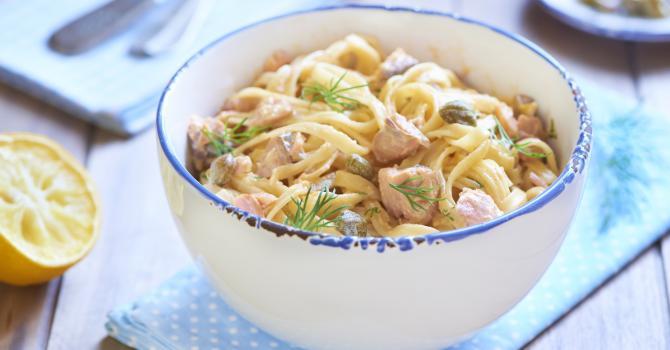 Recette légère, tagliatelle à l'aneth et saumon spécial cookeo