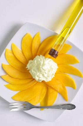 Recette de carpaccio de mangue et émulsion d'huile d'olive à la ...