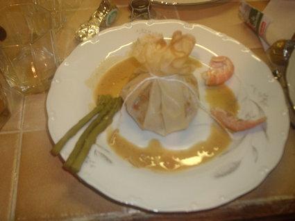 Recette aumônières de saint-jacques à la bisque de homard