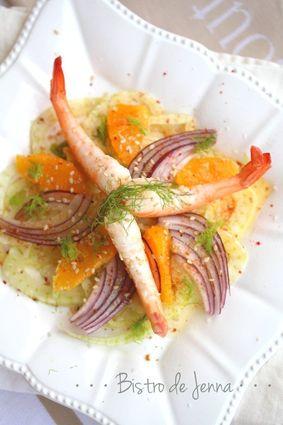 Recette de salade de crevettes, fenouil et orange
