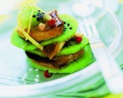 Recette mille-feuilles de kiwis et de foie gras poêlés