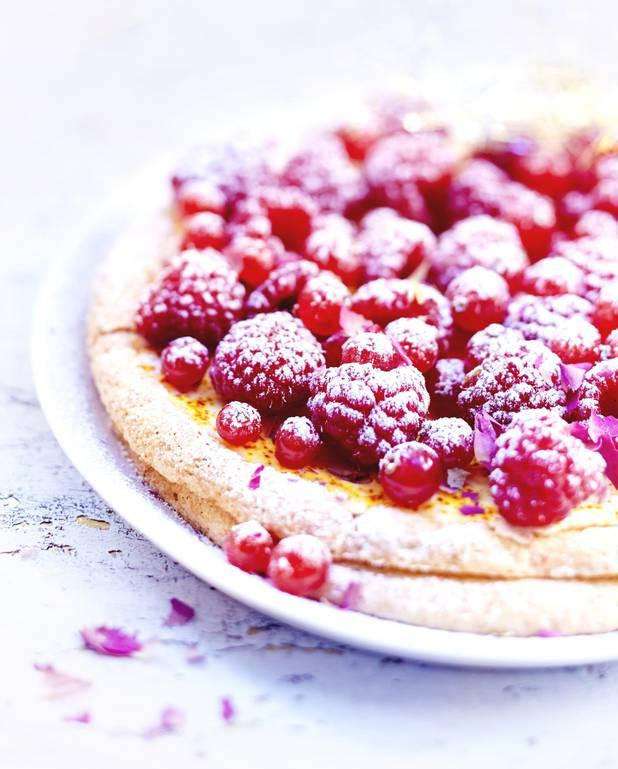 Tarte fruits rouges, rose et violette pour 6 personnes