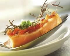 Recette saumon mariné aux poivrons et à la ciboulette
