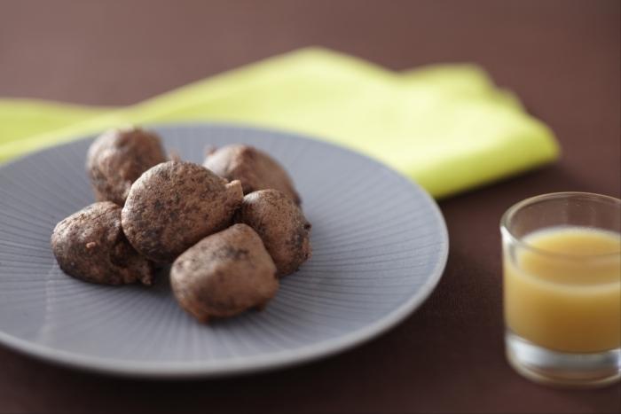 Recette de beignet de chocolat noir, coulis de poires