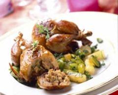Recette cailles farcies sauce foie gras