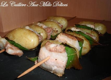 Recette de brochettes de pommes de terre, lard & laurier