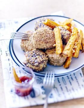 Nuggets, ketchup et frites de patates douces pour 6 personnes ...