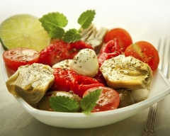Recette salade d'artichaut, de tomates et de mozzarella