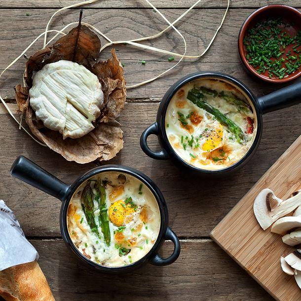 Recette œufs cocotte aux asperges et au st môret