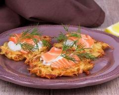 Recette bouchées de pommes de terre au saumon fumé