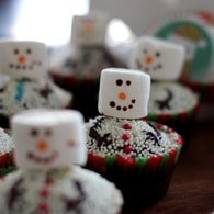 Recette de cupcake de noël bonhomme de neige en chamallow