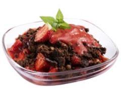 Recette crumble froid de brownie aux fraises